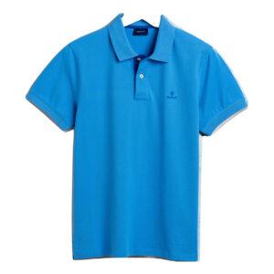 Gant Bomullspique med kontrast krage blå